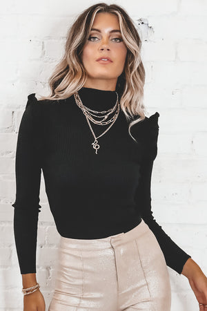 One Way Or Another Black Ruffle Shoulder Top