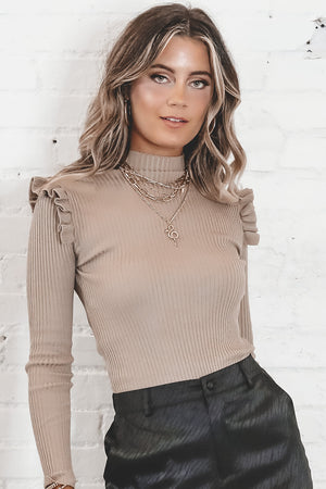 One Way Or Another Taupe Ruffle Shoulder Top