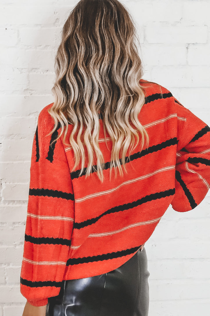 Give Me Your Heart Orange Striped Sweater