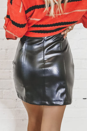 One Of A Kind Black Leather Skirt
