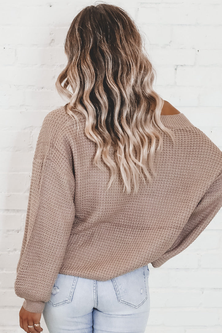 Meet Me In Five Taupe Waffle Knit Sweater