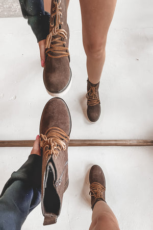 Where You Wander Coffee Lace Up Boots