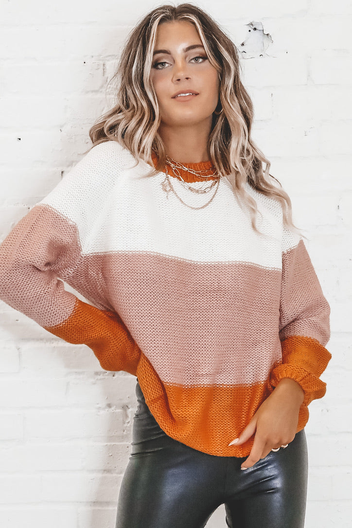 Run Away With Me Multi Color Block Sweater