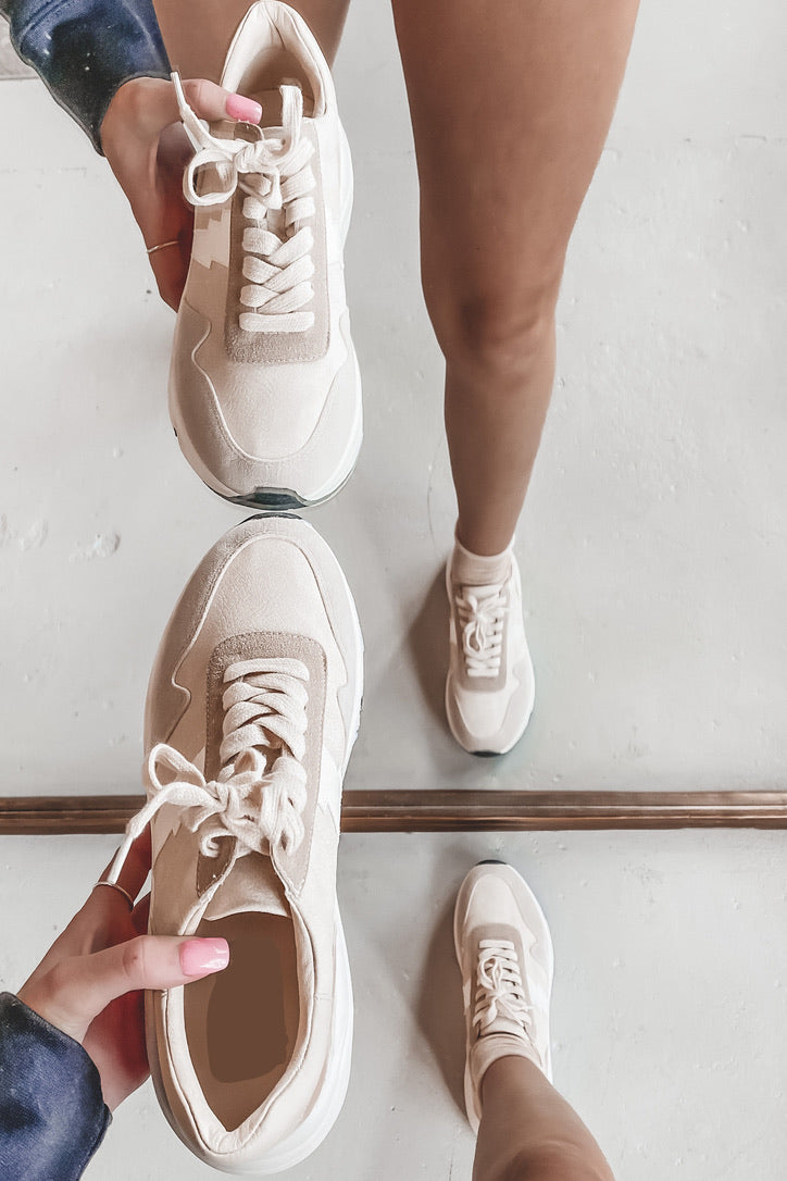 In The Blink Of An Eye Beige Sneakers