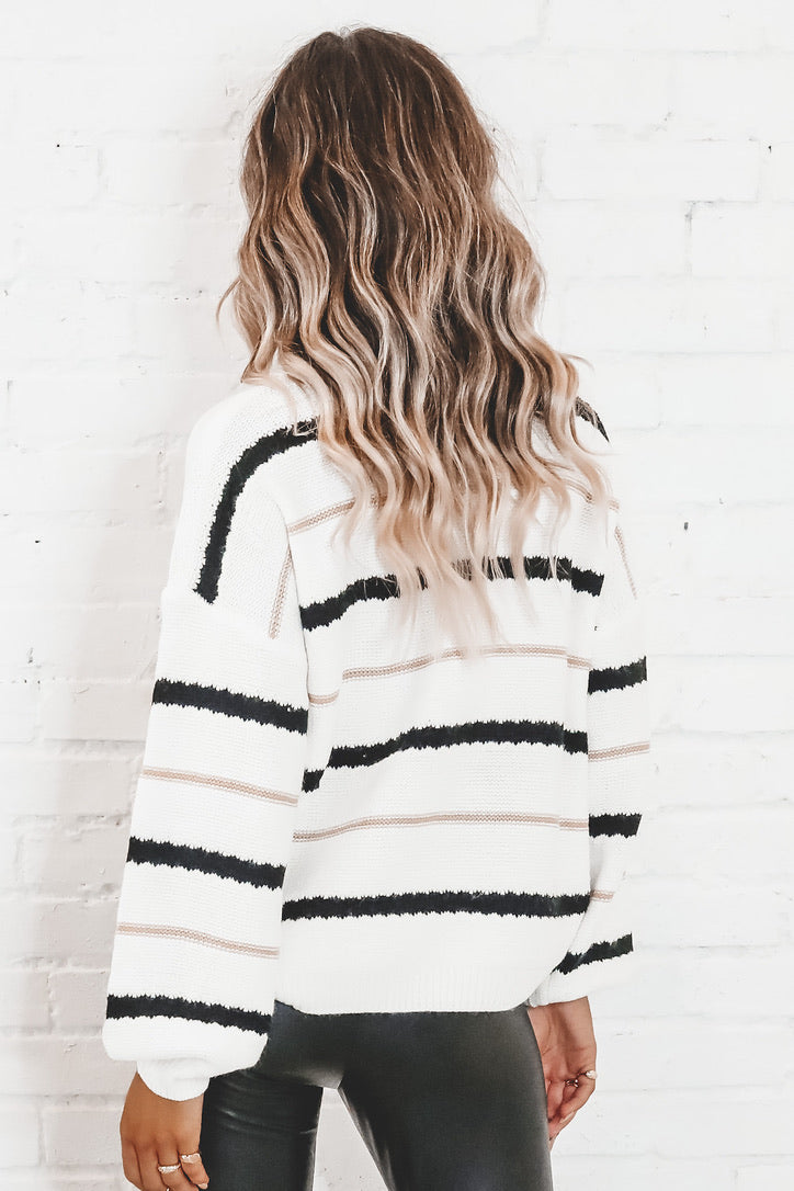 Give Me Your Heart Ivory Striped Sweater