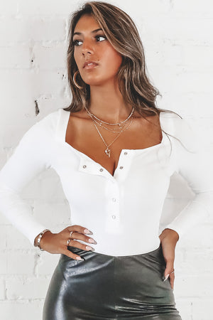 Bright Eyes White Button Front Bodysuit