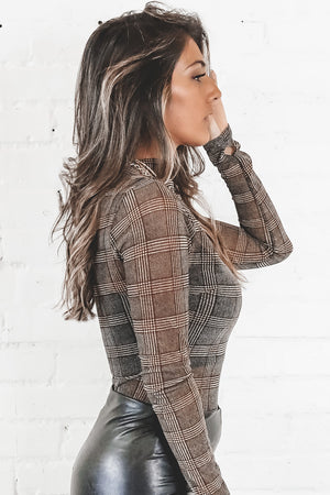 Blast From My Past Gray Plaid Mesh Bodysuit
