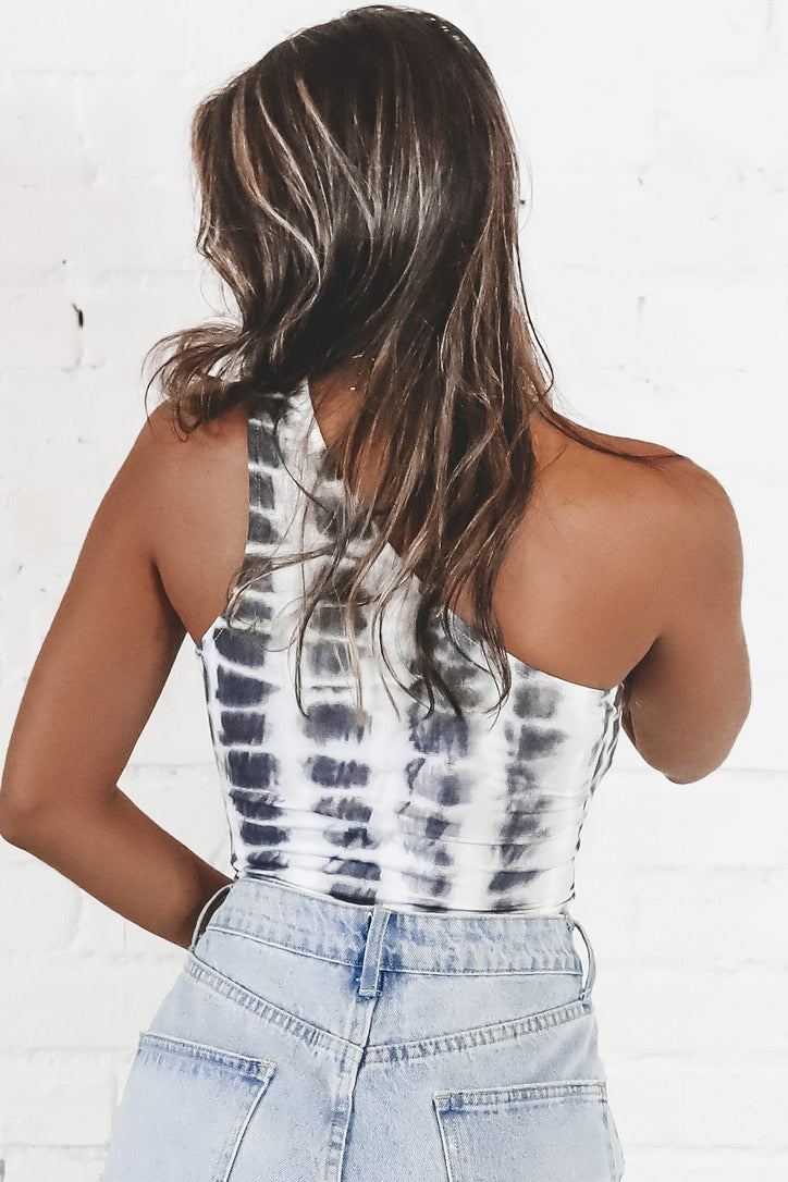As Long As I'm Yours Black  Tie Dye One Shoulder Bodysuit