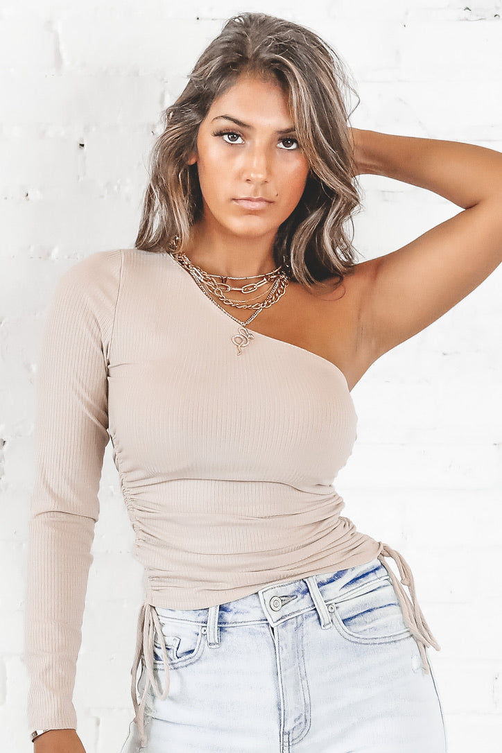 Second Guessing Taupe One Shoulder Ruched Top
