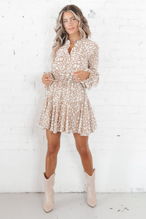 Spin Me Around Taupe Leopard Long Sleeve Dress