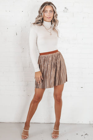Drinks On Me Mocha Pleated Skirt