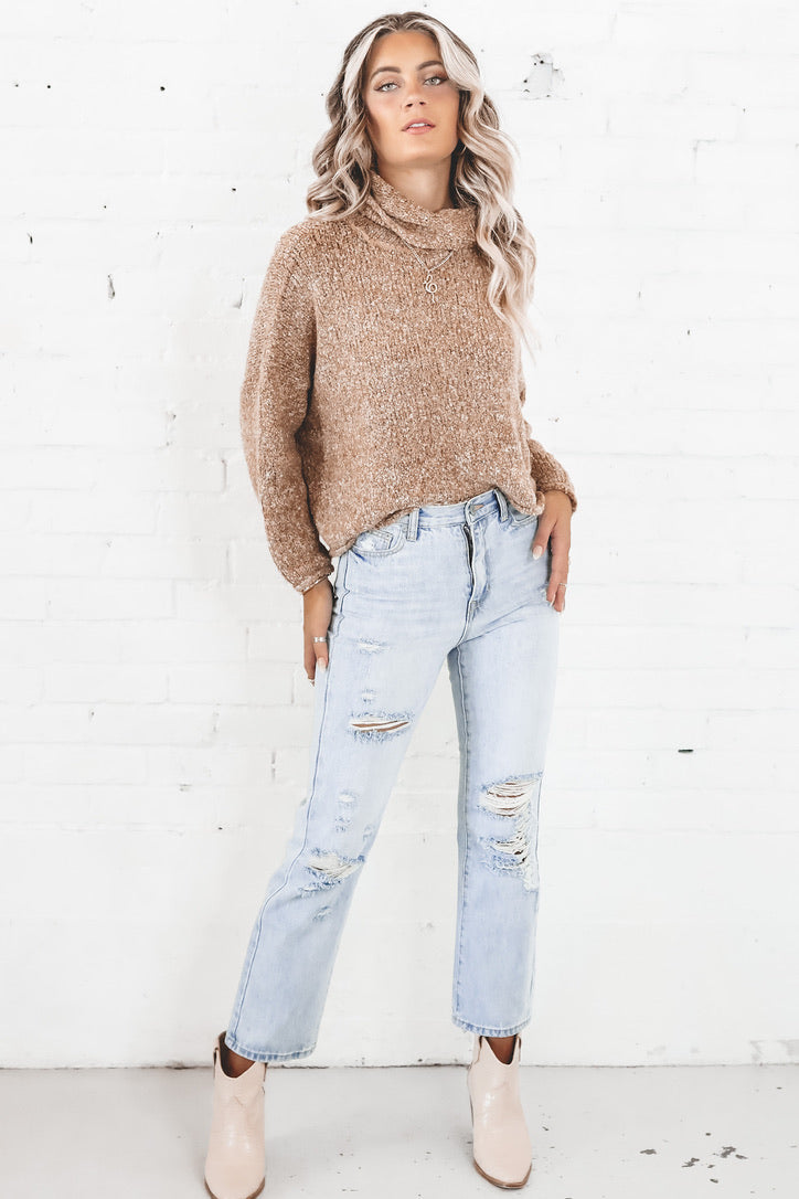 Be My Motivation Mocha Turtleneck Sweater