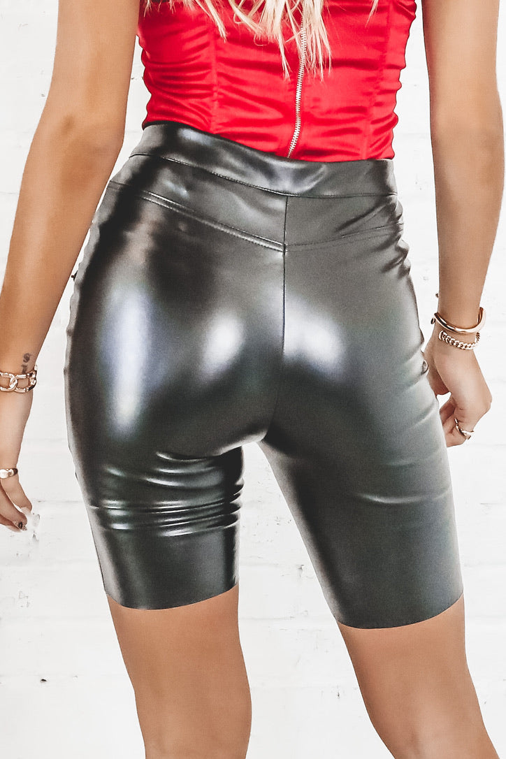 Highway To Love Black Leather Bike Shorts