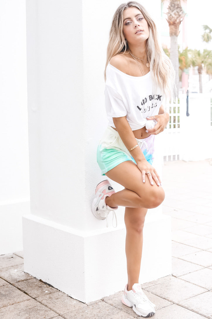 CHASER Knit Tie Dye Lounge Shorts