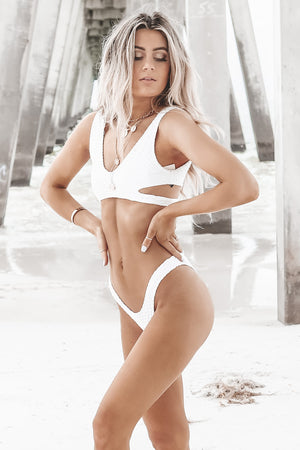 Cut The Waves White Bikini Bottoms