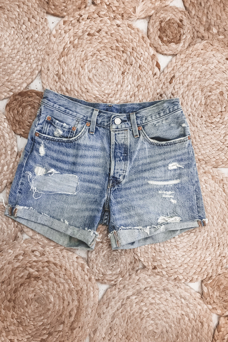 Vintage Distressed Cuffed 501 Levi's W 26