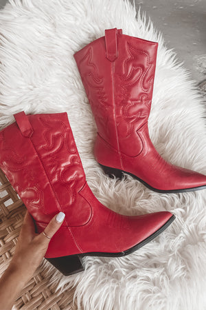 Festival Queen Red Western Boots