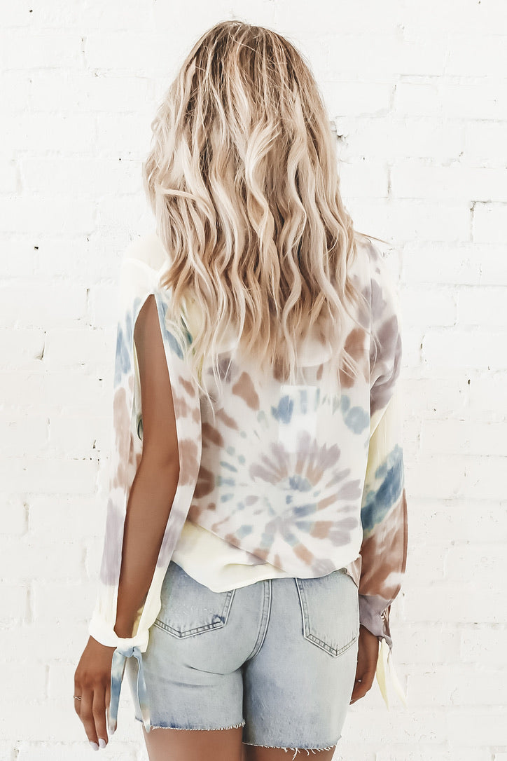 CHASER Heirloom Gauze Long Sleeve V-Neck Blouse With Ties In Tie Dye