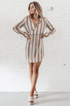 CHASER Silky Basics Long Sleeve Collared Surplice Dress In Stripes