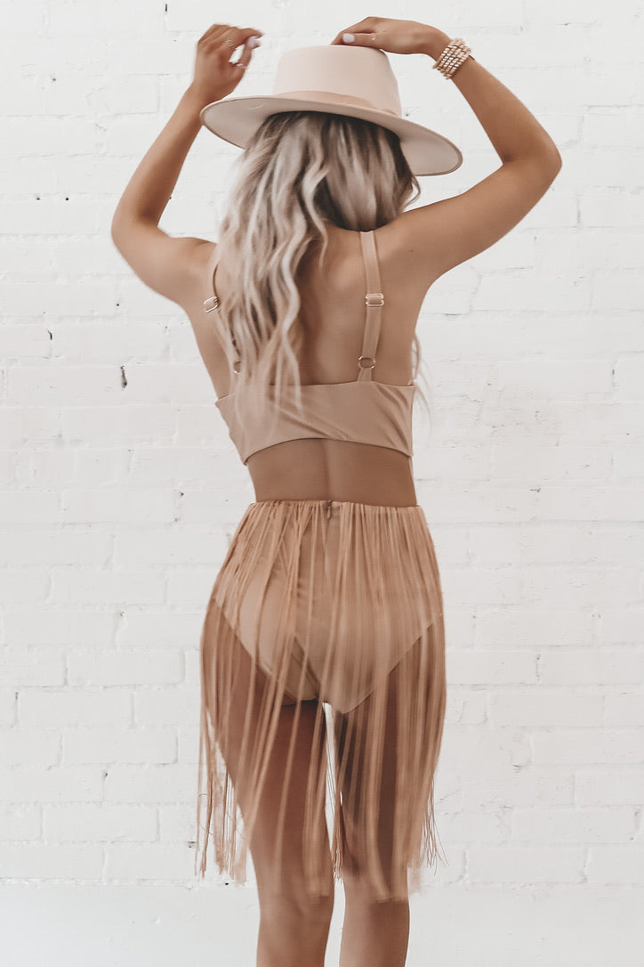 Only Nude Fringe Cutout Bodysuit