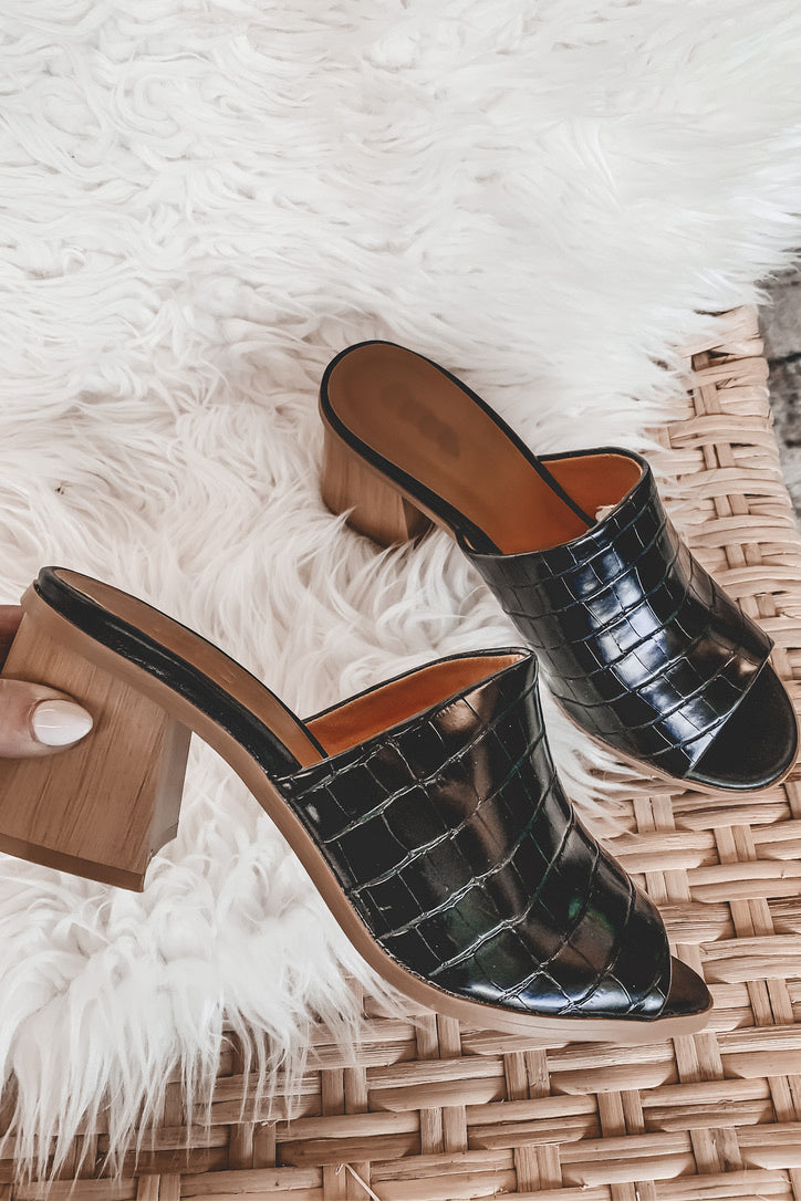 Black Is The New Croc Block Heel