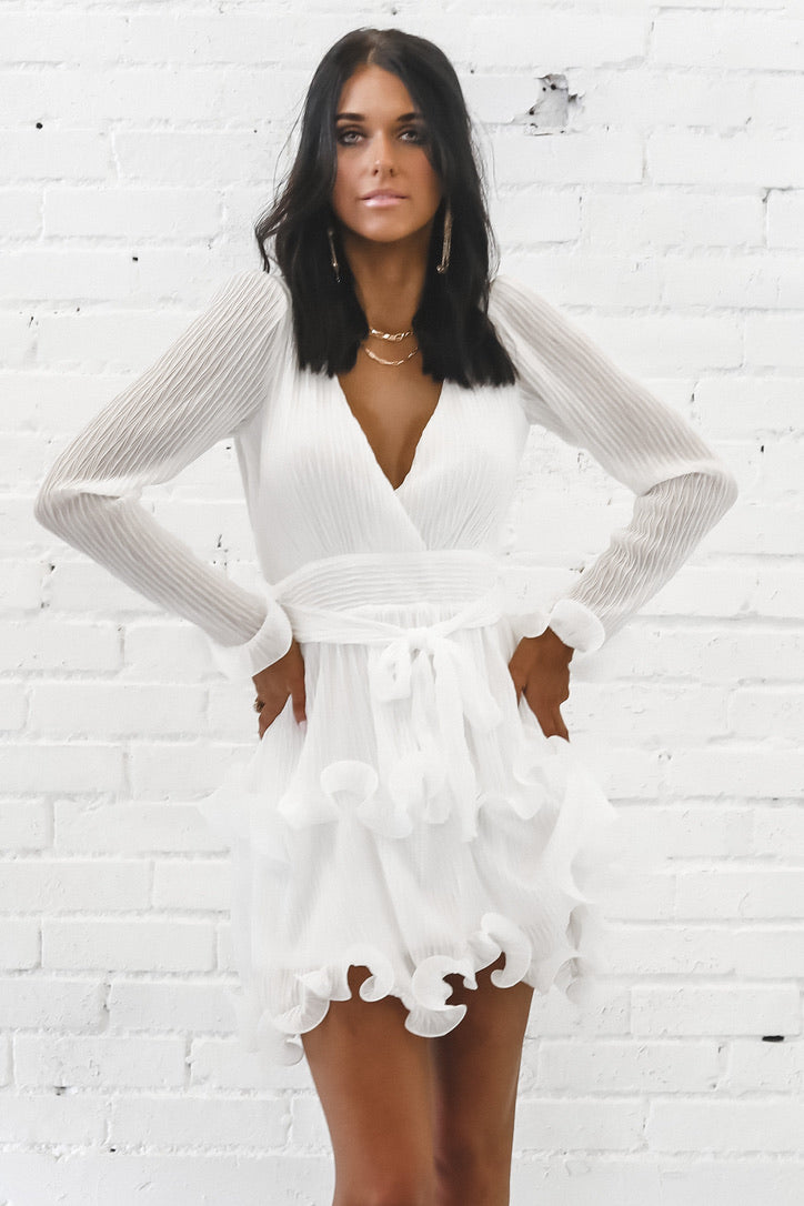 Ruffled Feathers White Pleated Dress