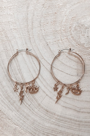 Hoop There It Is Gold Hoop Charm Earrings