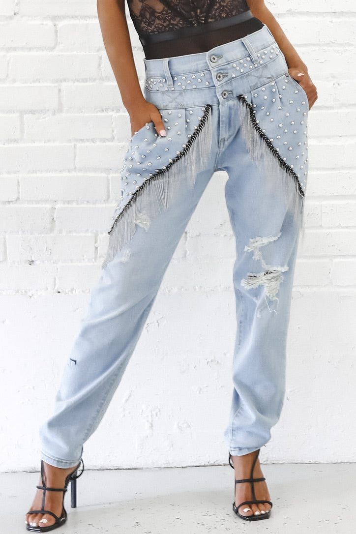 Party Like A Rockstar Studded Light Wash Jeans