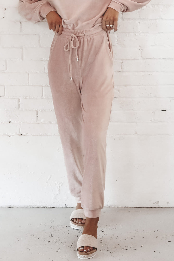 Be Thinking Of Me Velvet Blush Joggers