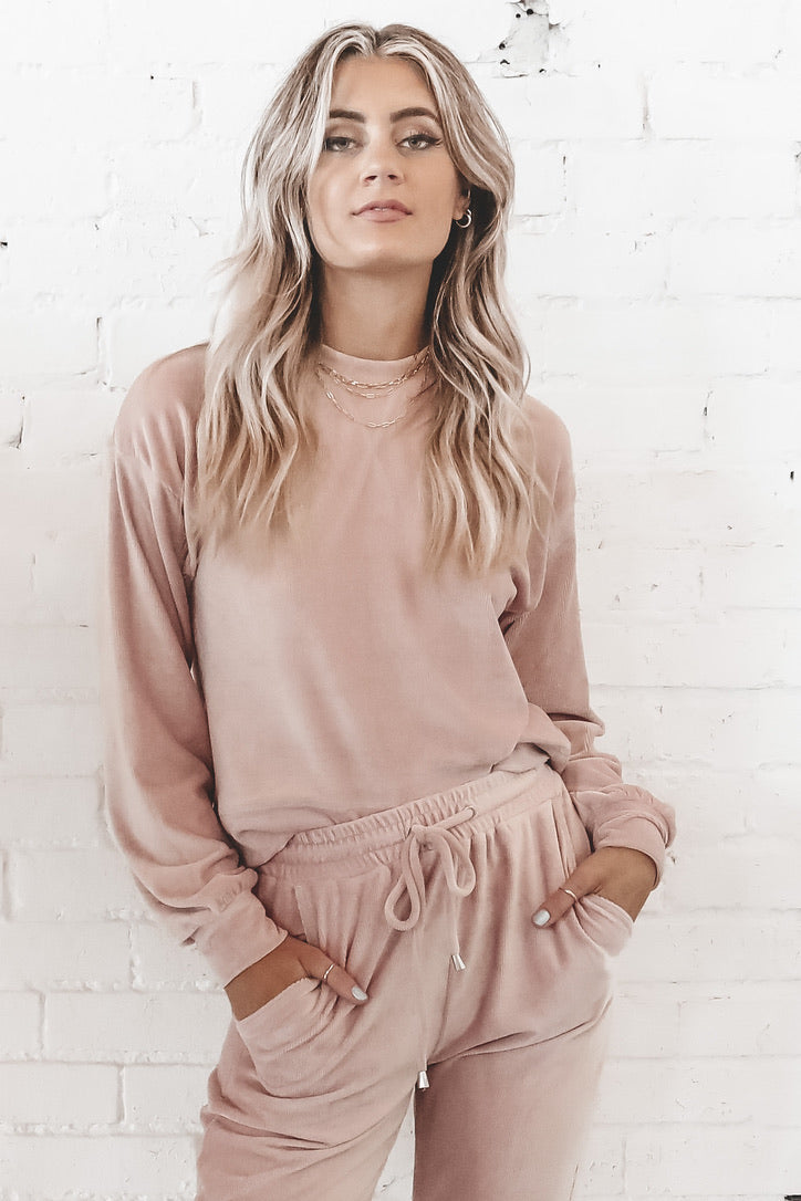 Be Thinking Of Me Velvet Rib Blush Lounge Top