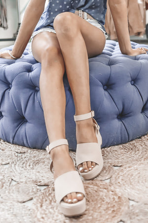 Pretty Please Nude Platform Sandals
