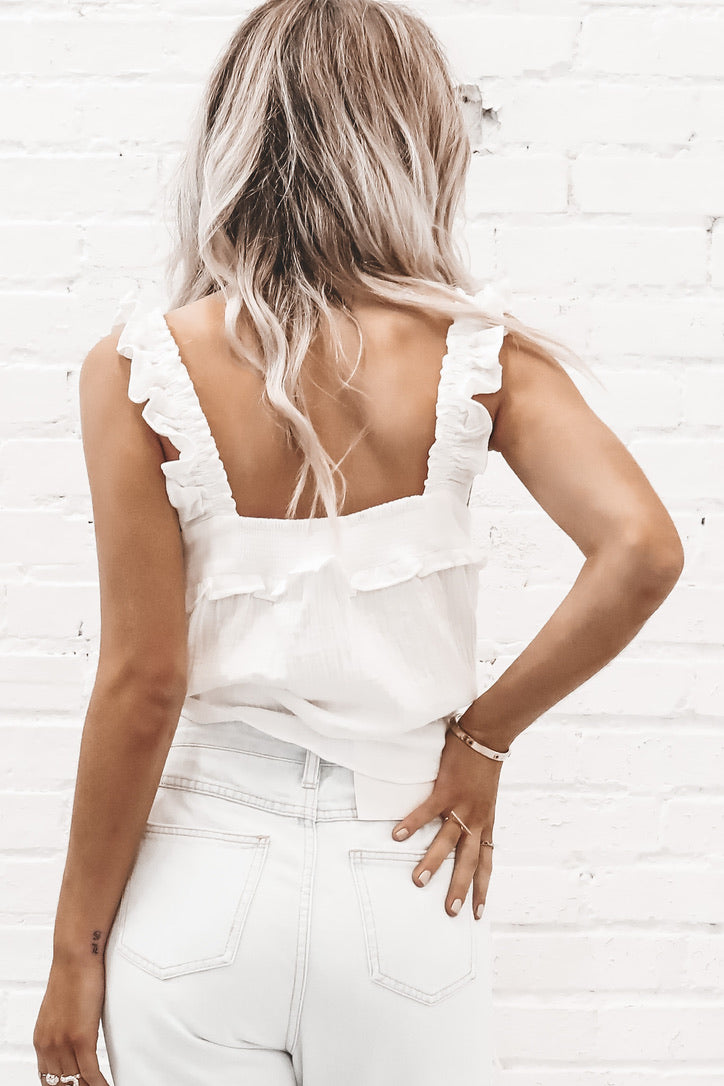 Positive State Of Mind White Ruffle Tank