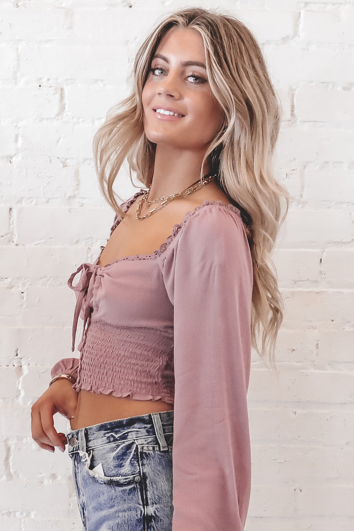 Drive Me Wild Mauve Puff Sleeve Crop Top