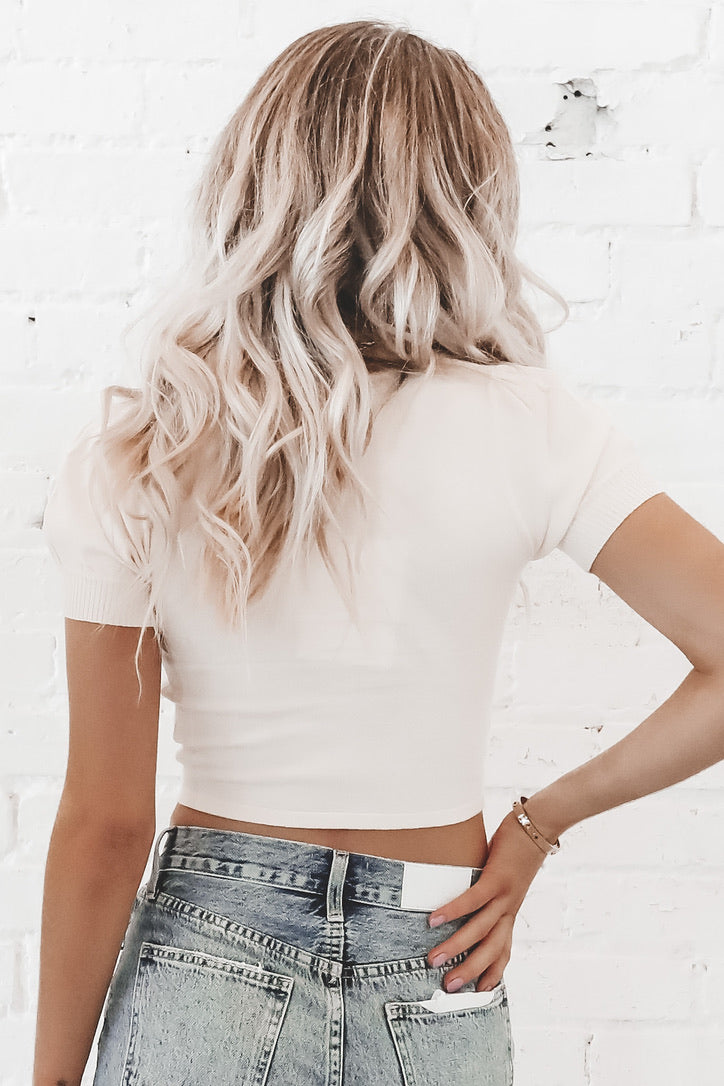 She's So Proper Ivory Crop Sweater
