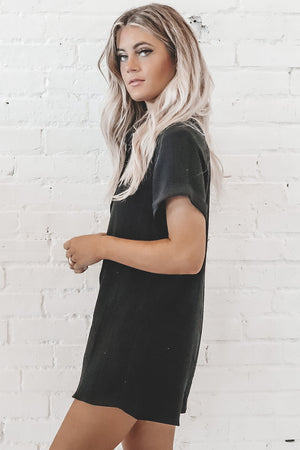 Down To Play Black Button Down Romper