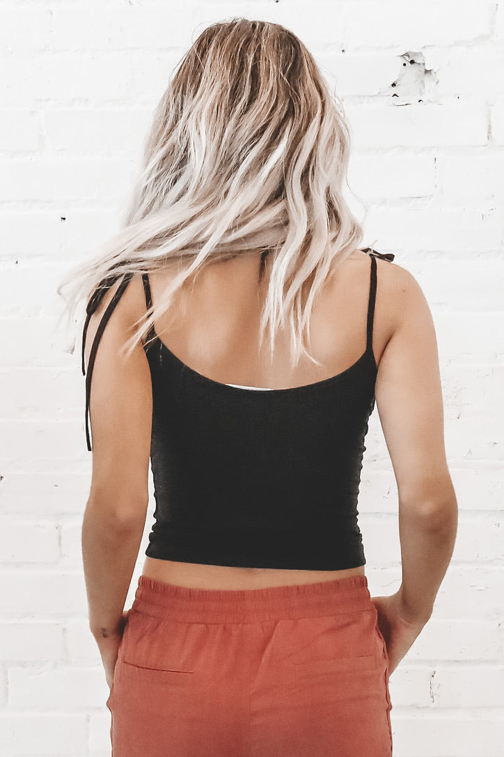 Like Totally Tie Shoulder Crop Top