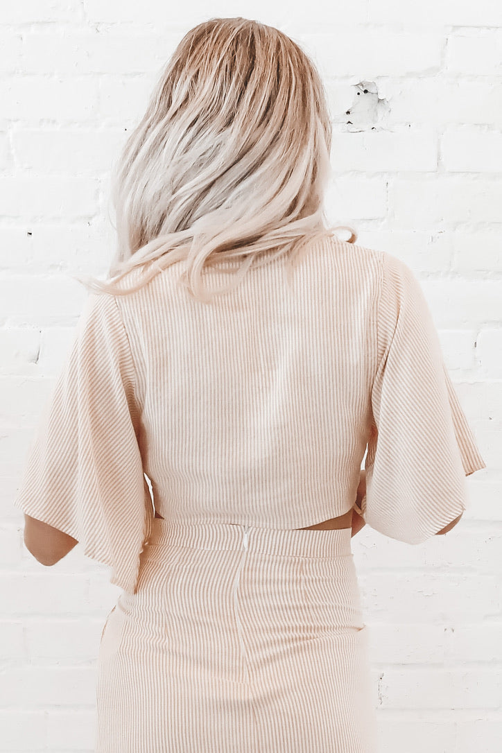 Pinstripe My Way Into Your Heart Wrap Top
