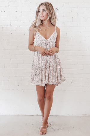 She's Totally Happy Blush Floral Mini Dress