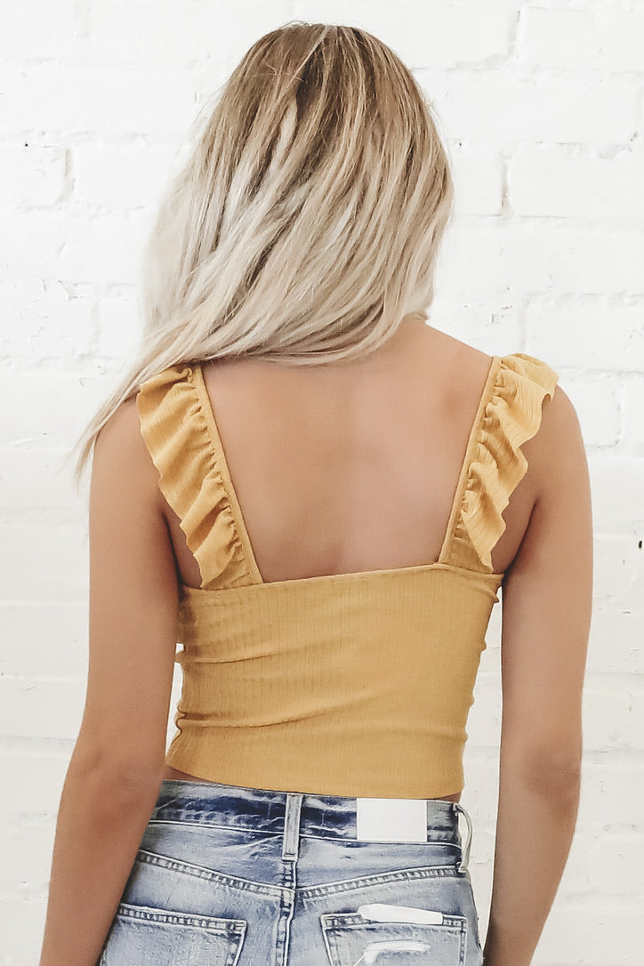 Call You Later Ruffle Crop Top