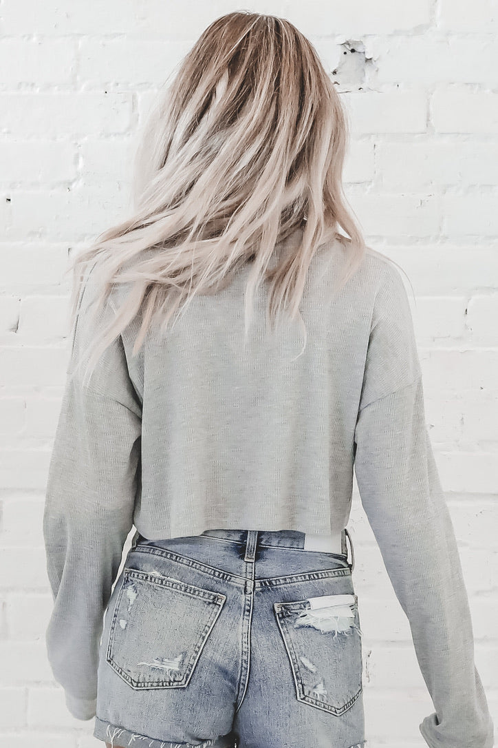 Los Angeles Gray Cropped Sweater