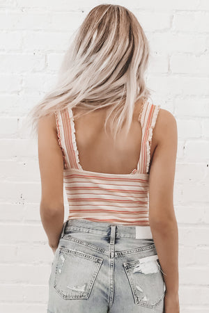 She Wears Stripes Ruffle Bodysuit