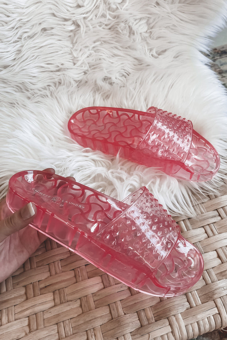 CHINESE LAUNDRY Glow Up Pink Slides