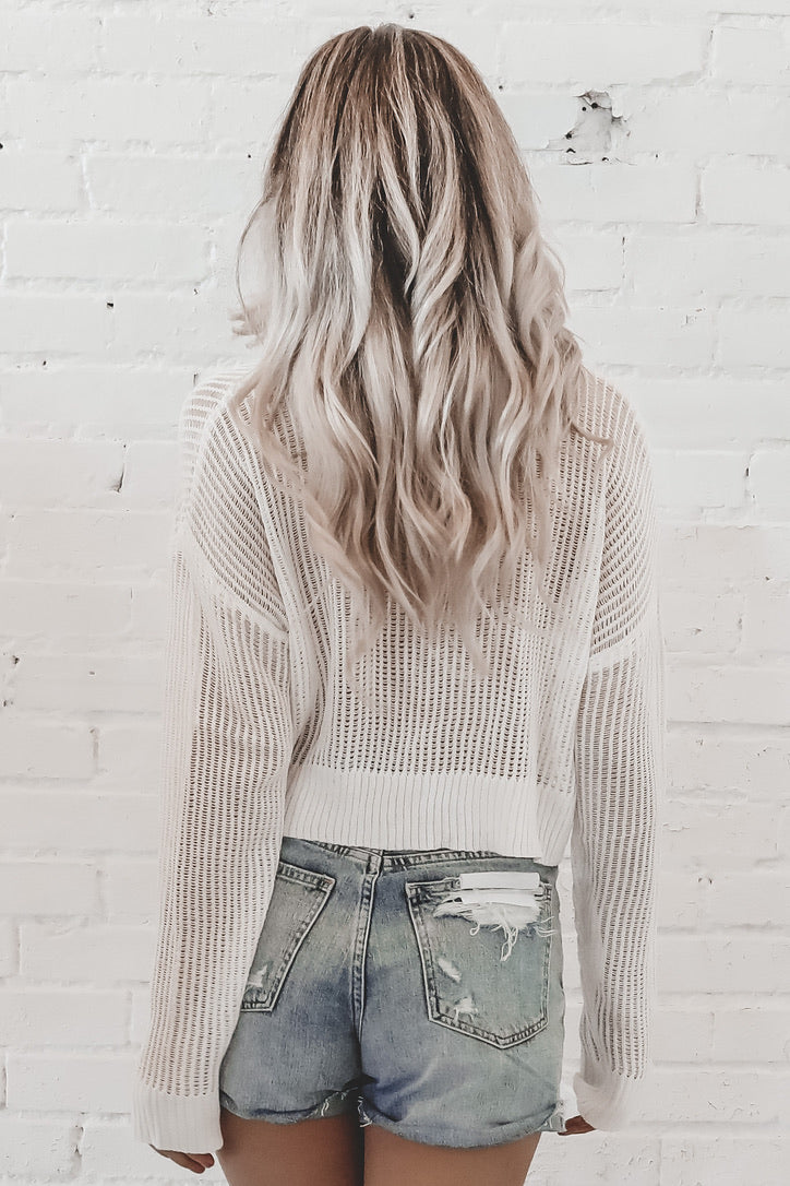 Meshed Together Off White Crop Sweater