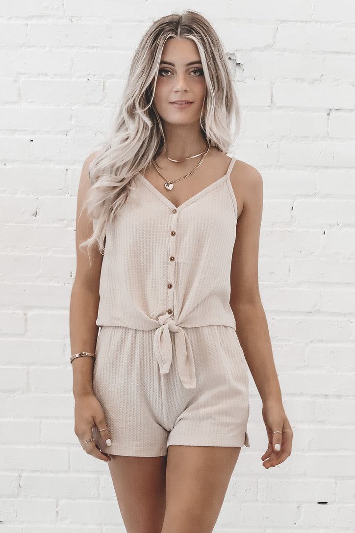 It's A Lifestyle Taupe Tank & Short Set