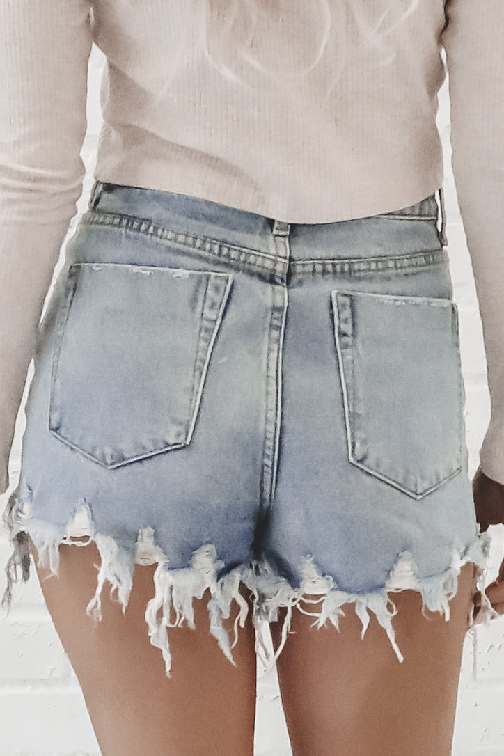 How High Distressed High Waisted Cut Offs