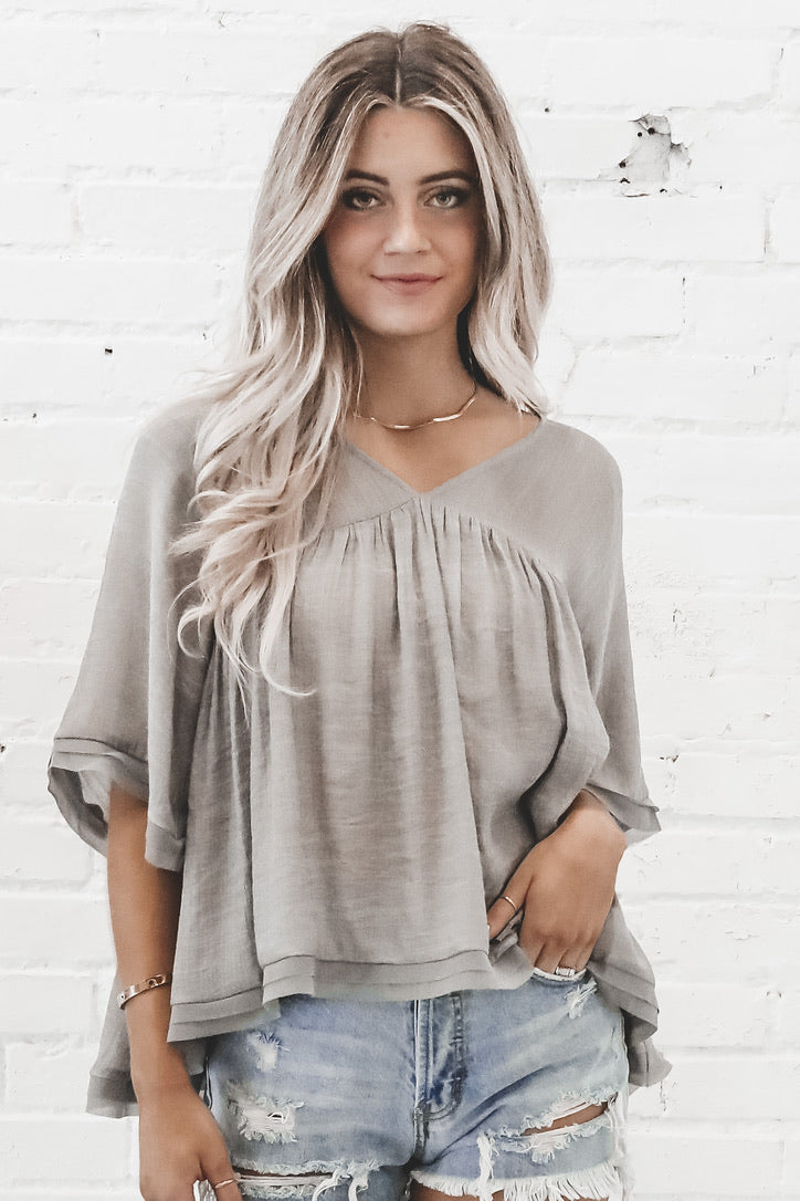 Anything Goes Gray V Neck Top