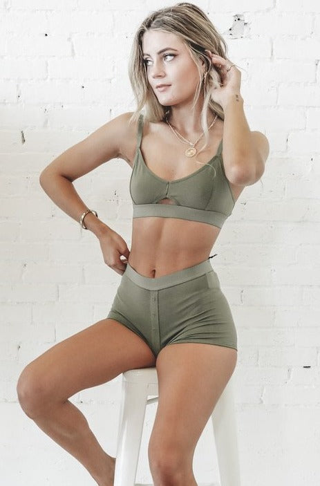 RICHER POORER Cut Out Bralette Moss Loungewear