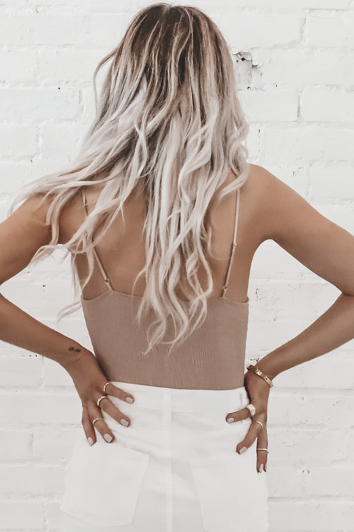 In With The New Nude Ribbed Bodysuit