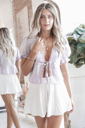 Summer Date Night White Pleated Shorts