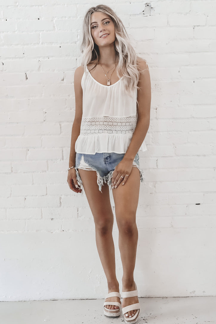 The Last Scoop White Lace Cami